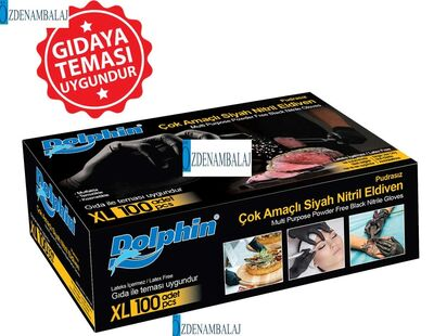 DOLPHİN ÇOK AMAÇLI SİYAH NİTRİL ELDİVEN (XL) (Gıdaya Uygun)
